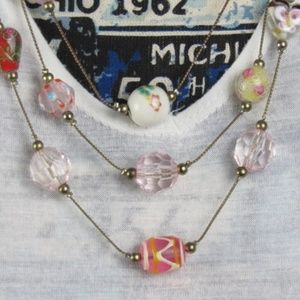 Three Strand Chain And Bead Necklace